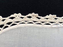 Load image into Gallery viewer, Vintage Ivory Embroidered Cotton Linen Applique Needlework Tablecloth with Crochet Lace Edging