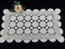 Load image into Gallery viewer, Small White Vintage Crocheted Cotton Lace Rectangular Table Runner