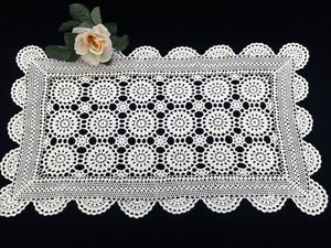 Small White Vintage Crocheted Cotton Lace Rectangular Table Runner