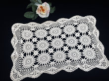 Load image into Gallery viewer, A Pair of Small Vintage Ivory Vintage Crochet Lace Table Runners in Ivory Cotton