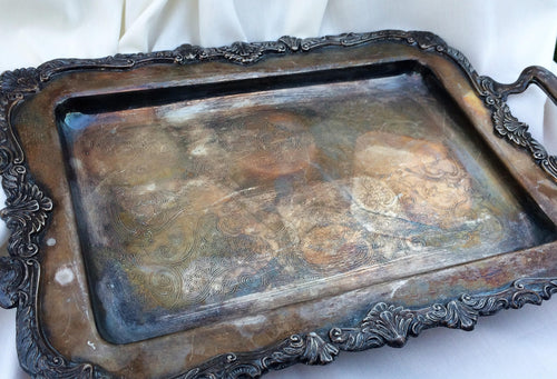 Genuine Viners Vintage Ornate Oblong Silver Plated Tray with Handles