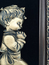 Load image into Gallery viewer, Vintage Religious Picture - Young Boy Praying Large 3D Image Wall Hanging in Decorative Gilded Frame. Vintage  Religious Art in Ornate Frame