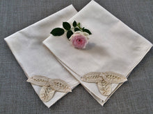 Load image into Gallery viewer, A Pair of Vintage Ivory Cotton Linen and Battenburg Lace Napkins