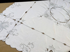 Vintage Hand Embroidered Oblong White/Grey Cotton Linen Tablecloth with Madeira (Cutwork) Embroidery