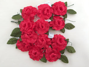 Artificial Flowers. Vintage Craft Supplies. 24 Pieces of Red Artificial Roses VCS0013