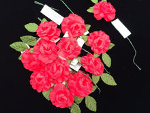 Load image into Gallery viewer, Artificial Flowers. Vintage Craft Supplies. 24 Pieces of Red Artificial Roses VCS0013