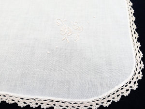 Vintage Ivory Embroidered Cotton Linen Applique Needlework Tablecloth with Crochet Lace Edging