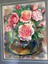 Load image into Gallery viewer, Original Phyllis Veith Watercolour Still Life Flowers/Roses Pastel Painting