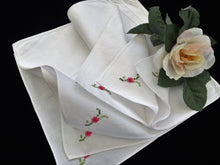 Load image into Gallery viewer, Set of 6 White Unused Vintage Hand Embroidered Cotton Linen Napkins