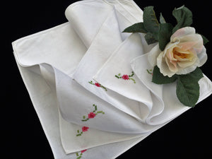 Set of 6 White Unused Vintage Hand Embroidered Cotton Linen Napkins