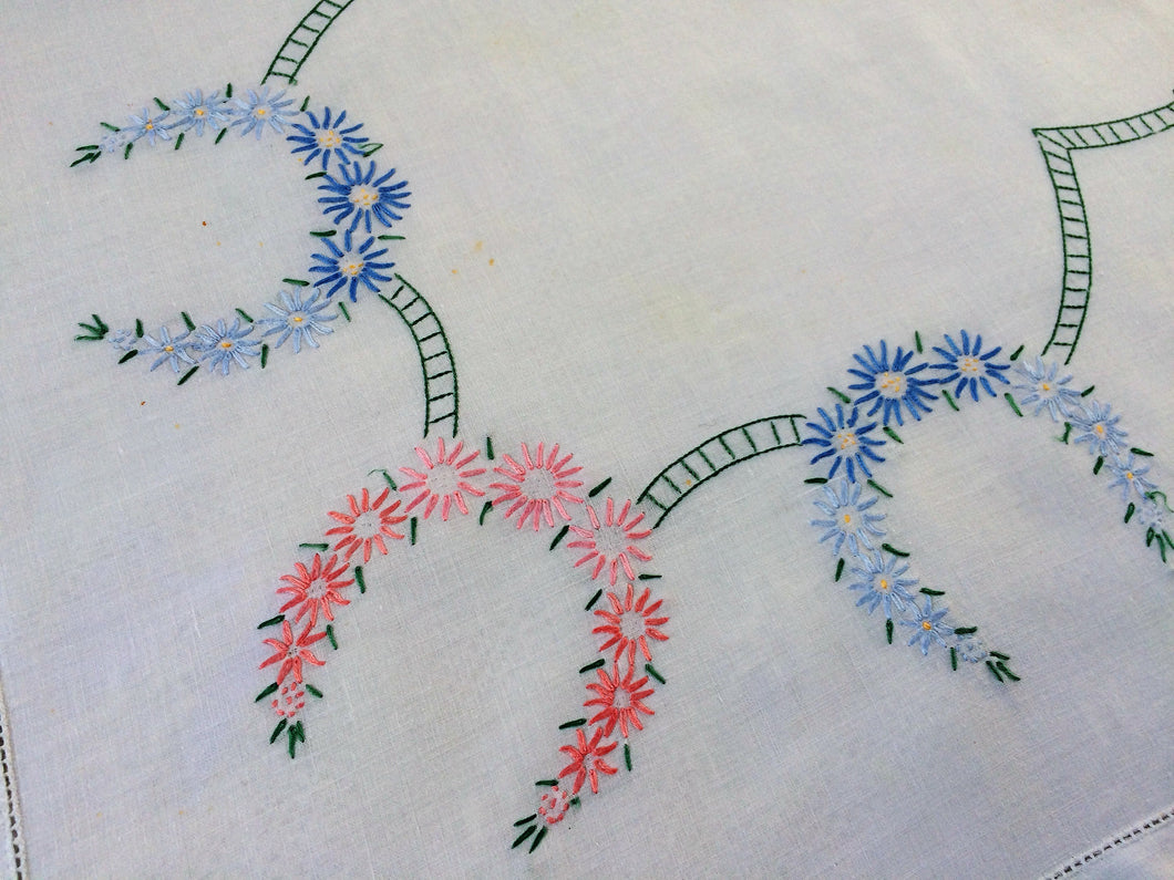 Vintage Square Hand Embroidered White Linen Embroidered Tablecloth