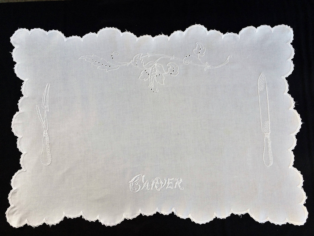 Embroidered Antique Victorian Carver Cover. Rare Antique Linen Kitchen Meat Carver Tablecloth with Madeira Cutwork and Scalloped Crochet Edging
