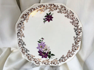 Lord Nelson Pottery England Vintage Flat Cake Plate with Dahlias