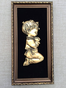Vintage Religious Picture - Young Boy Praying Large 3D Image Wall Hanging in Decorative Gilded Frame. Vintage  Religious Art in Ornate Frame