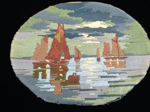 Embroidered Oval Long Stitch Picture for Framing - Sails and Seascape Fibre Art
