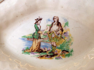 J & G Meakin Small Oval Porcelain Platter Featuring a Scottish Couple 561073