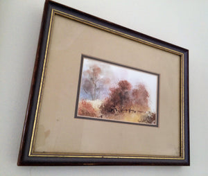 Vintage Watercolours. A Pair of Original Vintage Landscape Paintings in Gilded Wooden Frame. Australian Art