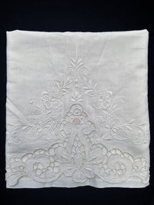 Vintage White on White Madeira Embroidered Large Linen and Lace Guest Towel