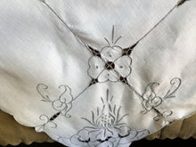 Load image into Gallery viewer, Vintage Hand Embroidered Oblong White/Grey Cotton Linen Tablecloth with Madeira (Cutwork) Embroidery