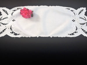 Small Vintage White on White Madeira Cutwork Embroidered Table Runner