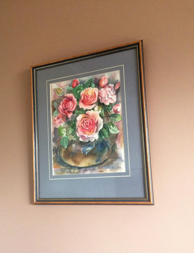 Original Phyllis Veith Watercolour Still Life Flowers/Roses Pastel Painting