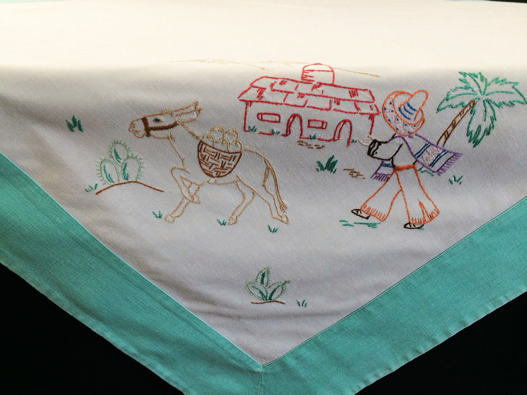 Vintage Mexican Theme Embroidered White Tablecloth with Reinforced Aqua Colour Hem