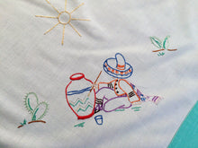 Load image into Gallery viewer, Vintage Mexican Theme Embroidered White Tablecloth with Reinforced Aqua Colour Hem