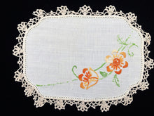 Load image into Gallery viewer, Sandwich Doily. Linen Doily. Oval Doily. Vintage Embroidered Off White Linen Doily with Orange Flowers and Ivory Crochet Lace Edging