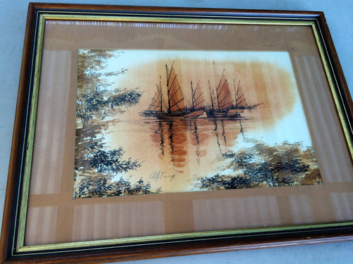 Vintage Landscape Watercolour. South East Asian Seascape with Chinese Junks Painting In Wooden Frame
