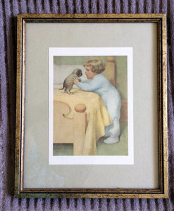 Bessie Pease-Gutmann Lithograph Vintage Framed Print Nursery Wall Decoration
