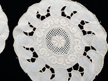 Load image into Gallery viewer, A Pair of Small Vintage Ivory Madeira Embroidered Linen Doilies