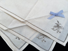 Load image into Gallery viewer, Set of 4 Unused Vintage Ivory Cotton Linen Napkins with Ecru Hand Embroidery and Ajour Openwork Edge