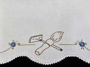 Vintage Embroidered White Waffle Linen Guest Towel with Crocheted Edge