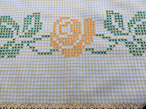 Vintage Yellow and White Checkered Embroidered Tablecloth with Cross Stitch Roses