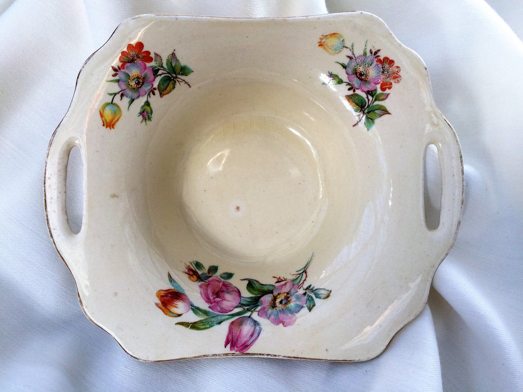 A J Wilkinson Honeyglaze Small Porcelain Candy Bowl with Handles