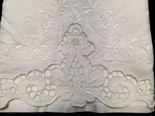 Load image into Gallery viewer, Vintage White on White Madeira Embroidered Large Linen and Lace Guest Towel