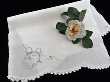 Load image into Gallery viewer, Vintage Embroidered Off-White Linen Tea or Guest Towel with Crocheted Scalloped Edge