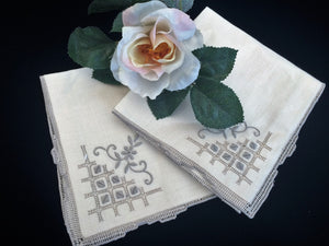 A Pair of Unused Vintage Cloth Napkins with Ivory/Ecru Hand Embroidery and Ajour Openwork Edge