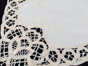 A Pair of Vintage Ivory Battenburg Lace and Embroidered Cotton Linen Placemats/Doilies