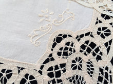 Load image into Gallery viewer, A Pair of Vintage Ivory Battenburg Lace and Embroidered Cotton Linen Placemats/Doilies