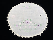 Load image into Gallery viewer, Vintage White Round Embroidered Flower Basket Doily with Crochet Lace Edging