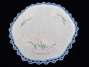 1930/40s Australian Vintage Round Embroidered Linen Doily with Poppies in Vase and Blue Crochet Lace Edging
