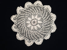 Load image into Gallery viewer, Antique Ecru Colour Round Fine Crocheted Lace Doily with 3 Dimensional Flower