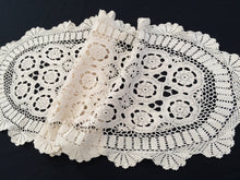 Load image into Gallery viewer, Oval Vintage Ivory Crochet Lace Table Runner