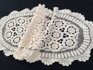 Oval Vintage Ivory Crochet Lace Table Runner