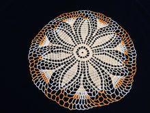 Load image into Gallery viewer, Vintage Yellow and Variegated Orange Round Crocheted Cotton Lace Doily