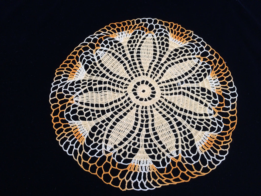 Vintage Yellow and Variegated Orange Round Crocheted Cotton Lace Doily