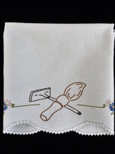 Load image into Gallery viewer, Vintage Embroidered White Waffle Linen Guest Towel with Crocheted Edge