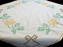 Load image into Gallery viewer, Vintage Yellow and White Checkered Embroidered Tablecloth with Cross Stitch Roses