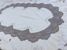 Load image into Gallery viewer, Vintage Madeira Cutwork Embroidered Linen and Bobbin Lace Ivory and Ecru Tablecloth